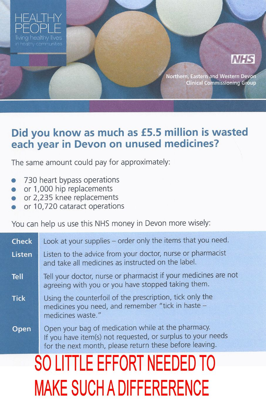 Information poster on waste in the NHS